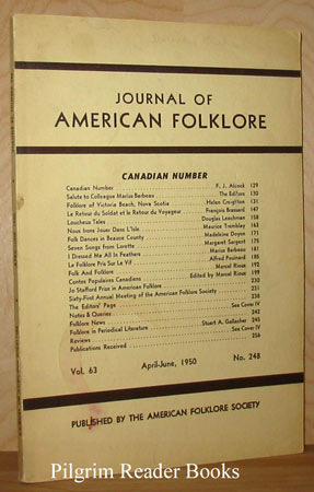 Image for Journal Of American Folklore: Volume 63, Number 248, April - June 1950 - Canadian Number.